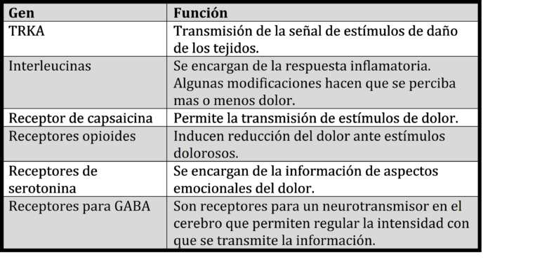 Genes relacionados con el dolor